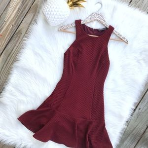 ASTR Maroon Textured Peplum Sleeveless Dress